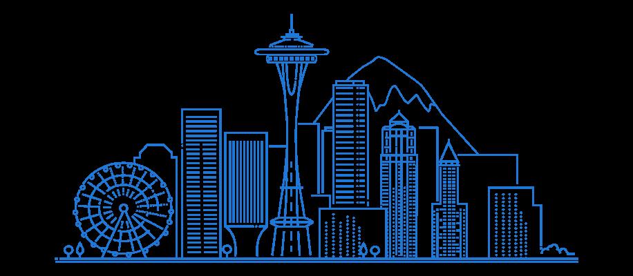 Line Illustration of Seattle, WA